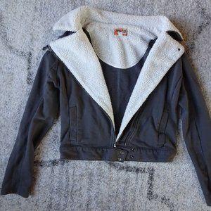 Grey Faux-Fur Bomber Jacket